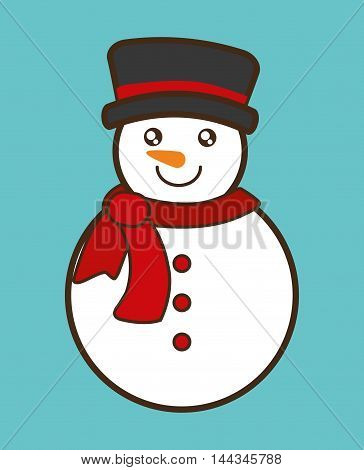 snowman cartoon merry christmas decoration celebration con. Colorful and flat design. Vector illustration