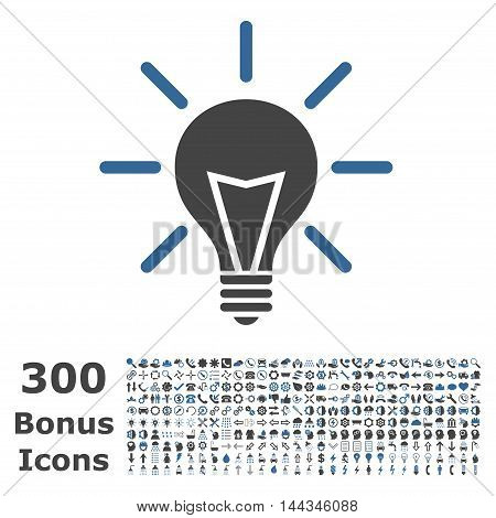 Electric Light icon with 300 bonus icons. Vector illustration style is flat iconic bicolor symbols, cobalt and gray colors, white background.