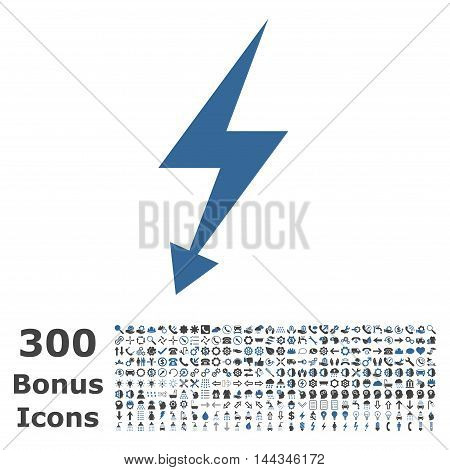 Electric Strike icon with 300 bonus icons. Vector illustration style is flat iconic bicolor symbols, cobalt and gray colors, white background.