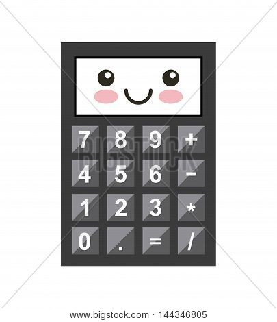 calculator kawaii character isolated icon vector illustration design