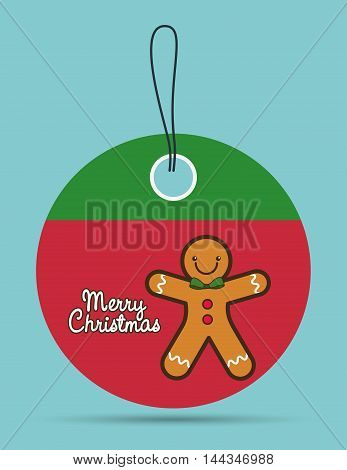 coockie label cartoon merry christmas decoration celebration con. Colorful and flat design. Vector illustration