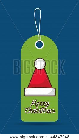 santas hat label merry christmas decoration celebration con. Colorful and flat design. Vector illustration