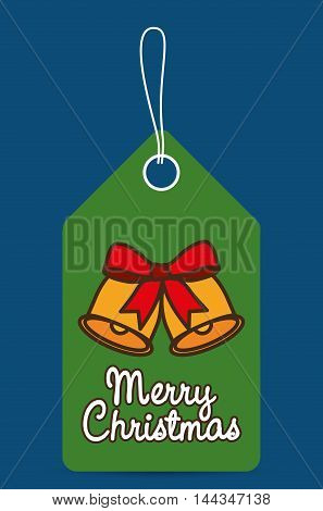 bell bowtie label merry christmas decoration celebration con. Colorful and flat design. Vector illustration