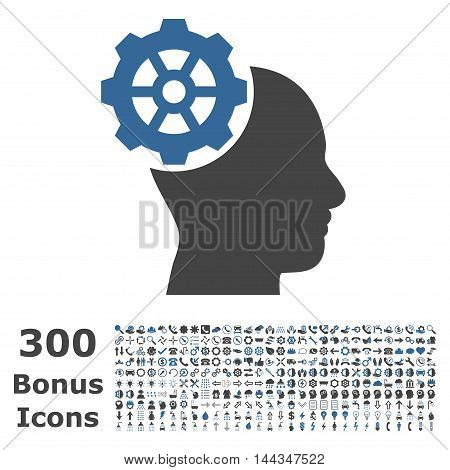 Head Gear icon with 300 bonus icons. Vector illustration style is flat iconic bicolor symbols, cobalt and gray colors, white background.