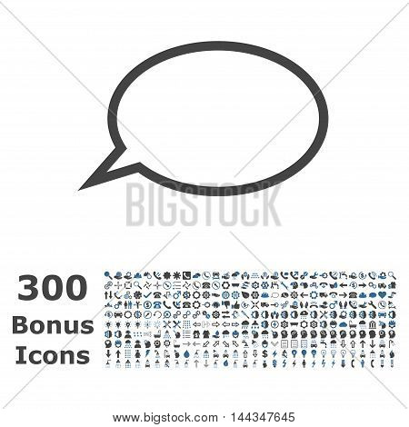 Hint Cloud icon with 300 bonus icons. Vector illustration style is flat iconic bicolor symbols, cobalt and gray colors, white background.