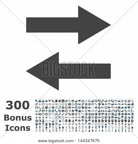 Horizontal Flip Arrows icon with 300 bonus icons. Vector illustration style is flat iconic bicolor symbols, cobalt and gray colors, white background.
