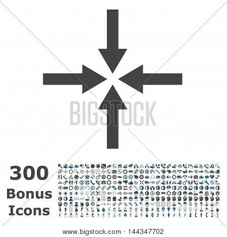 Impact Arrows icon with 300 bonus icons. Vector illustration style is flat iconic bicolor symbols, cobalt and gray colors, white background.