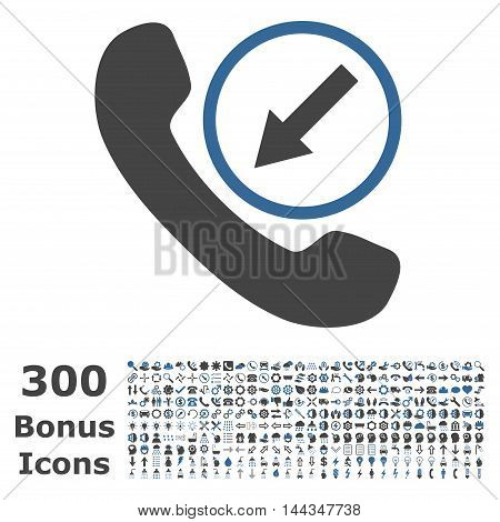 Incoming Call icon with 300 bonus icons. Vector illustration style is flat iconic bicolor symbols, cobalt and gray colors, white background.