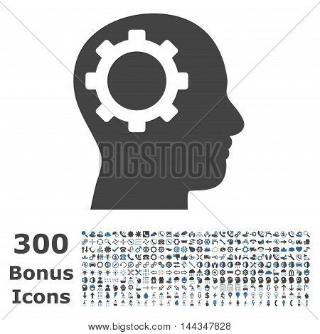 Intellect Gear icon with 300 bonus icons. Vector illustration style is flat iconic bicolor symbols, cobalt and gray colors, white background.