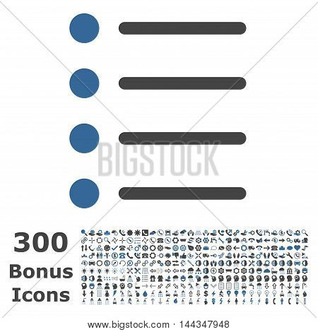 Items icon with 300 bonus icons. Vector illustration style is flat iconic bicolor symbols, cobalt and gray colors, white background.
