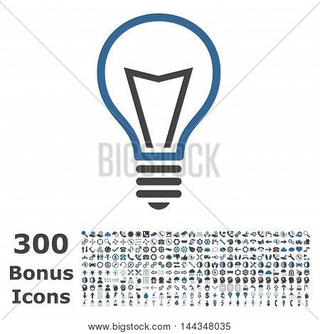 Lamp Bulb icon with 300 bonus icons. Vector illustration style is flat iconic bicolor symbols, cobalt and gray colors, white background.