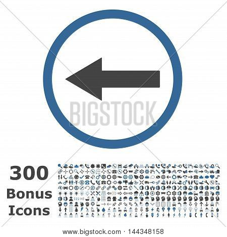 Left Rounded Arrow icon with 300 bonus icons. Vector illustration style is flat iconic bicolor symbols, cobalt and gray colors, white background.