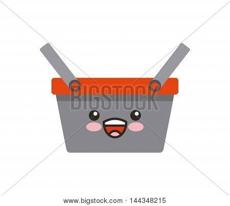 basket shopping kawaii character vector illustration design