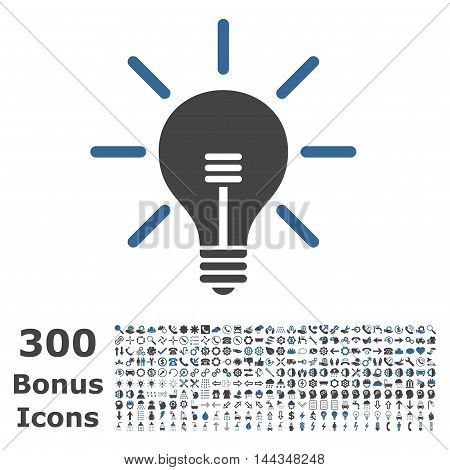Light Bulb icon with 300 bonus icons. Vector illustration style is flat iconic bicolor symbols, cobalt and gray colors, white background.