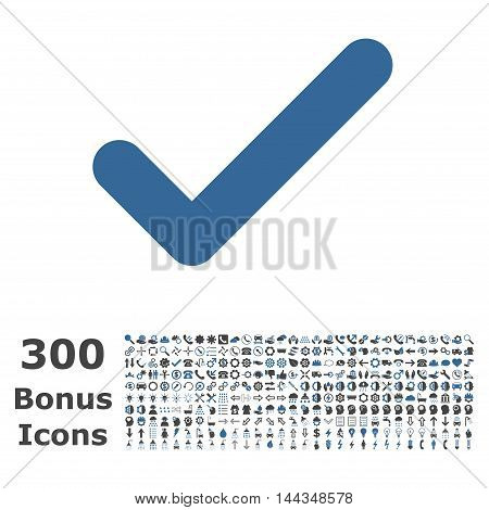 Ok icon with 300 bonus icons. Vector illustration style is flat iconic bicolor symbols, cobalt and gray colors, white background.