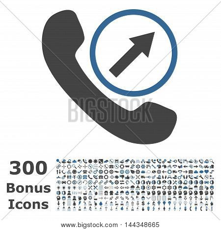Outgoing Call icon with 300 bonus icons. Vector illustration style is flat iconic bicolor symbols, cobalt and gray colors, white background.
