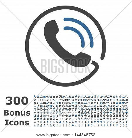Phone Call icon with 300 bonus icons. Vector illustration style is flat iconic bicolor symbols, cobalt and gray colors, white background.