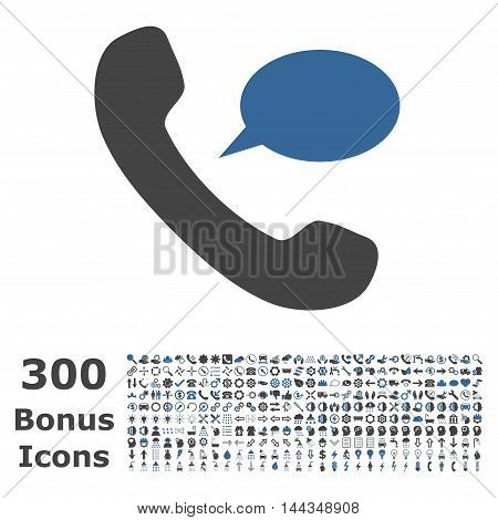 Phone Message icon with 300 bonus icons. Vector illustration style is flat iconic bicolor symbols, cobalt and gray colors, white background.