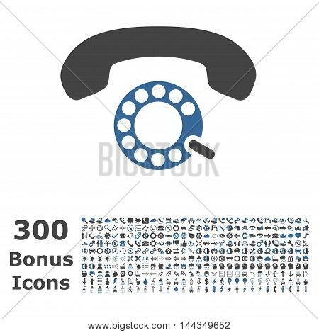 Pulse Dialing icon with 300 bonus icons. Vector illustration style is flat iconic bicolor symbols, cobalt and gray colors, white background.