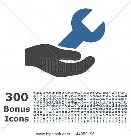 Repair Service icon with 300 bonus icons. Vector illustration style is flat iconic bicolor symbols, cobalt and gray colors, white background.