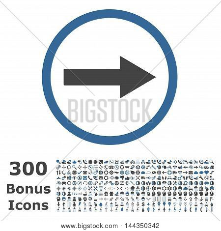 Right Rounded Arrow icon with 300 bonus icons. Vector illustration style is flat iconic bicolor symbols, cobalt and gray colors, white background.