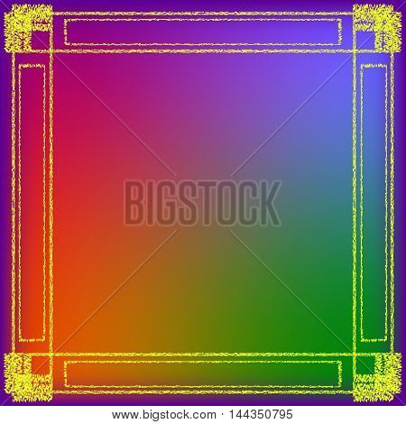 The frame of the texture of hay. Yellow Frame on a bright colored background.