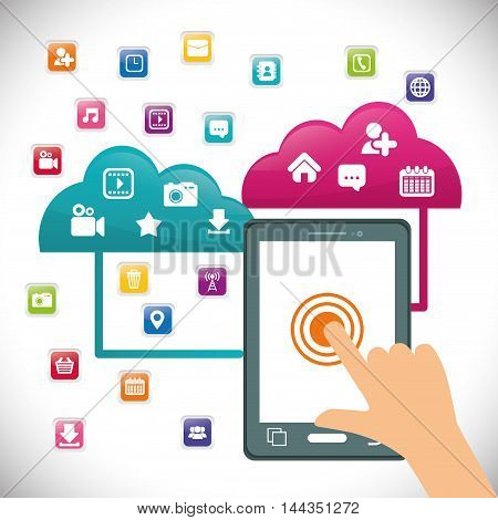 tablet cloud hand mobile apps application online icon set. Colorful and flat design. Vector illustration