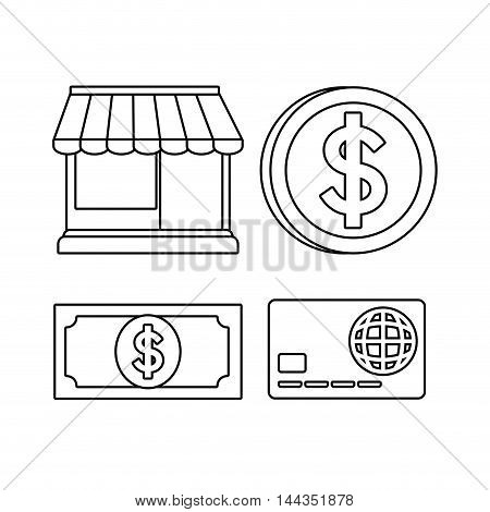 store coin bill credit card online payment shopping ecommerce icon. Flat illustration. Vector graphic
