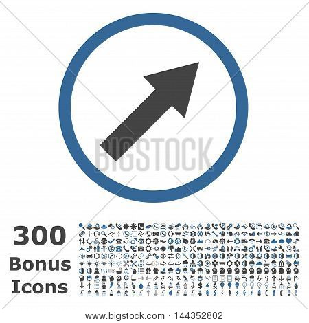 Up-Right Rounded Arrow icon with 300 bonus icons. Vector illustration style is flat iconic bicolor symbols, cobalt and gray colors, white background.