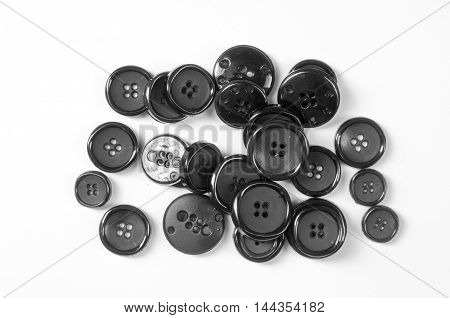 buttons photographed in studio, circle, clothing, set, sewing, textile,