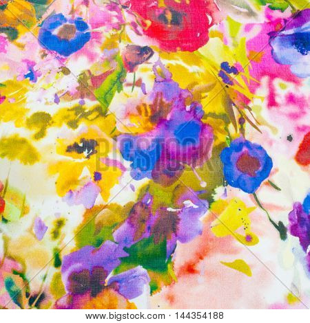 Silk Fabric Texture. Flowers