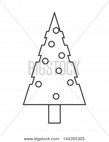 pine tree merry christmas celebration icon. Flat and Isolated design. Vector illustration