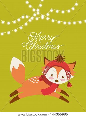 cute animal merry christmas isolated icon vector illustration design