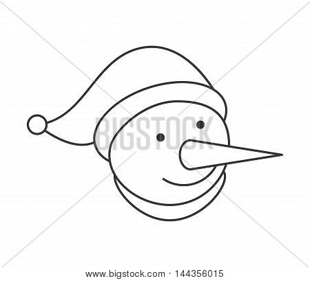 snowman merry christmas celebration icon. Flat and Isolated design. Vector illustration