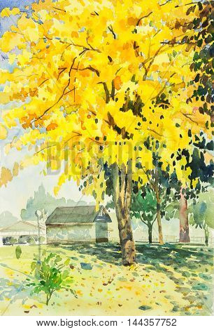 watercolor original landscape painting yellow orange color of golden tree flowers in sky and cloud background with house at garden