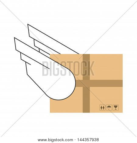 wings box package delivery shipping icon. Flat and Isolated design. Vector illustration