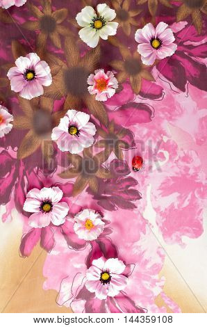 Pink fabric inlaid flowers. texture. Photographed in the studio