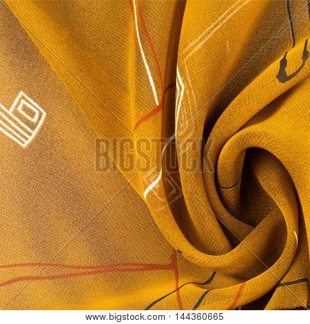 Fabric silk texture brown abstract drawing. photo studio
