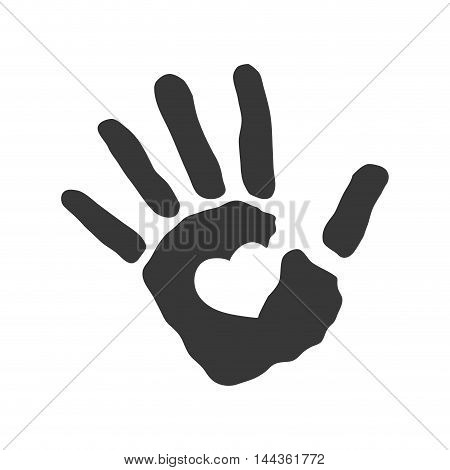 human hand heart gesture shape icon. Isolated and flat illustration. Vector graphic