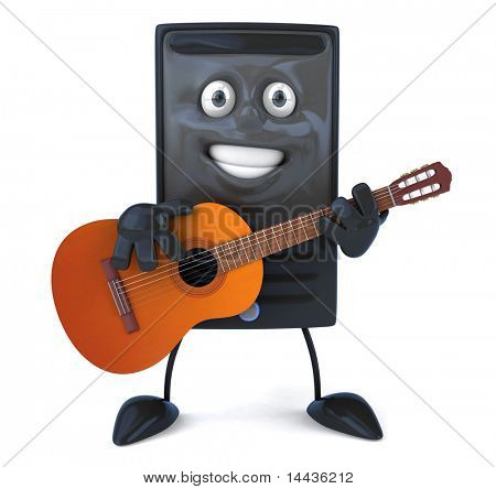 Computer with a guitar