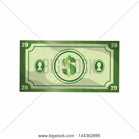 bill green money financial market icon. Isolated and flat illustration. Vector graphic