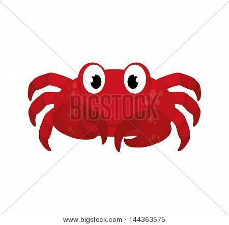 crab sea life animal cartoon icon. Isolated and flat illustration. Vector graphic
