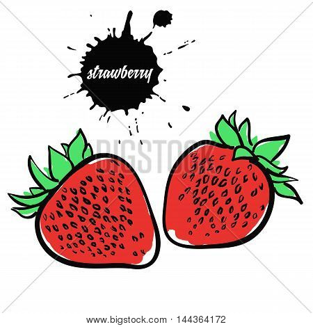 Isolated eco natural food berry red strawberry