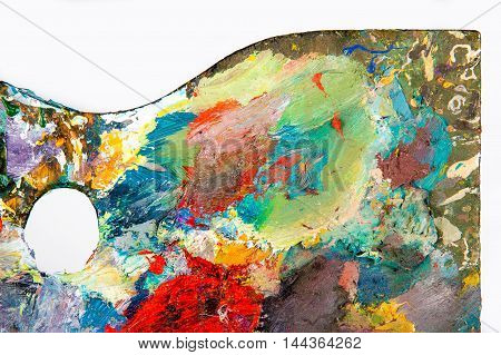 The texture of the artist's palette shot in studio
