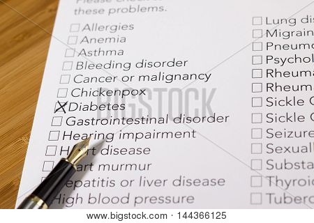 Health Evaluation Form with diabetes check rx