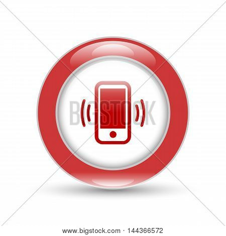 shiny mobile phone icon with round button