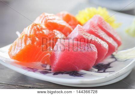 raw fish or raw tuna and raw salmon dish in Japanese style