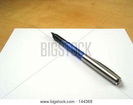 Pen On Blank Paper