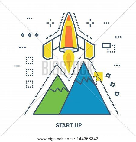 Concept of start up business. Color Line icons. Flat Vector illustration