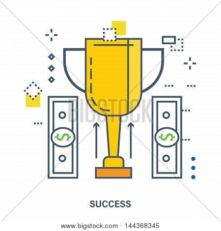 Concept of success corporate business. Color Line icons. Flat Vector illustration